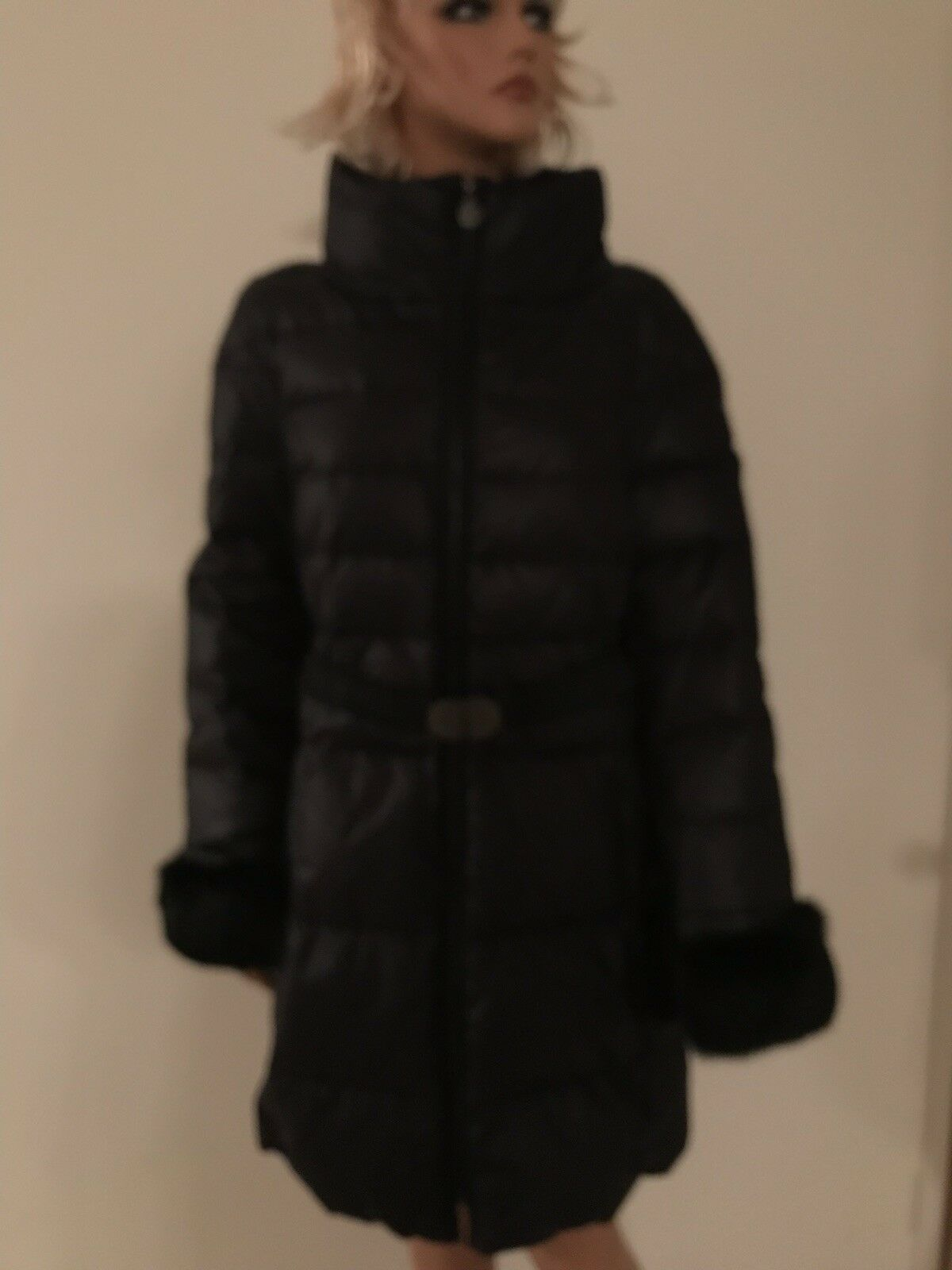 Elie Tahari Down Coat With Real Fur Size L Retail 475  NWT