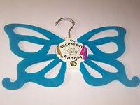Sheffield Scarf Clothes Hanger Closet Organizer Aqua Teal Blue Butterfly Nonslip