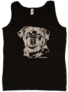 Ladies Tank Top Rottweiler Dog Breed Shirt Womens Black Sleeveless