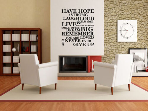 """Vinyl Decal Be Strong../""""  Wall Art Sticker Wall Quote /""""Have Hope Transfer."""