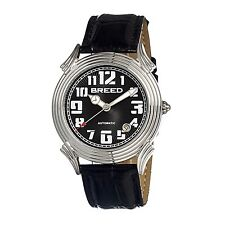 NEW Breed BRD1302 Men's Strauss Automatic Self-Wind Date Black Dial Silver Watch