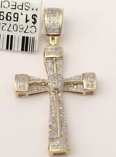 Religious New 10k Yellow Gold Mens Woman Jesus Cross Pave Diamond Charm Pendant
