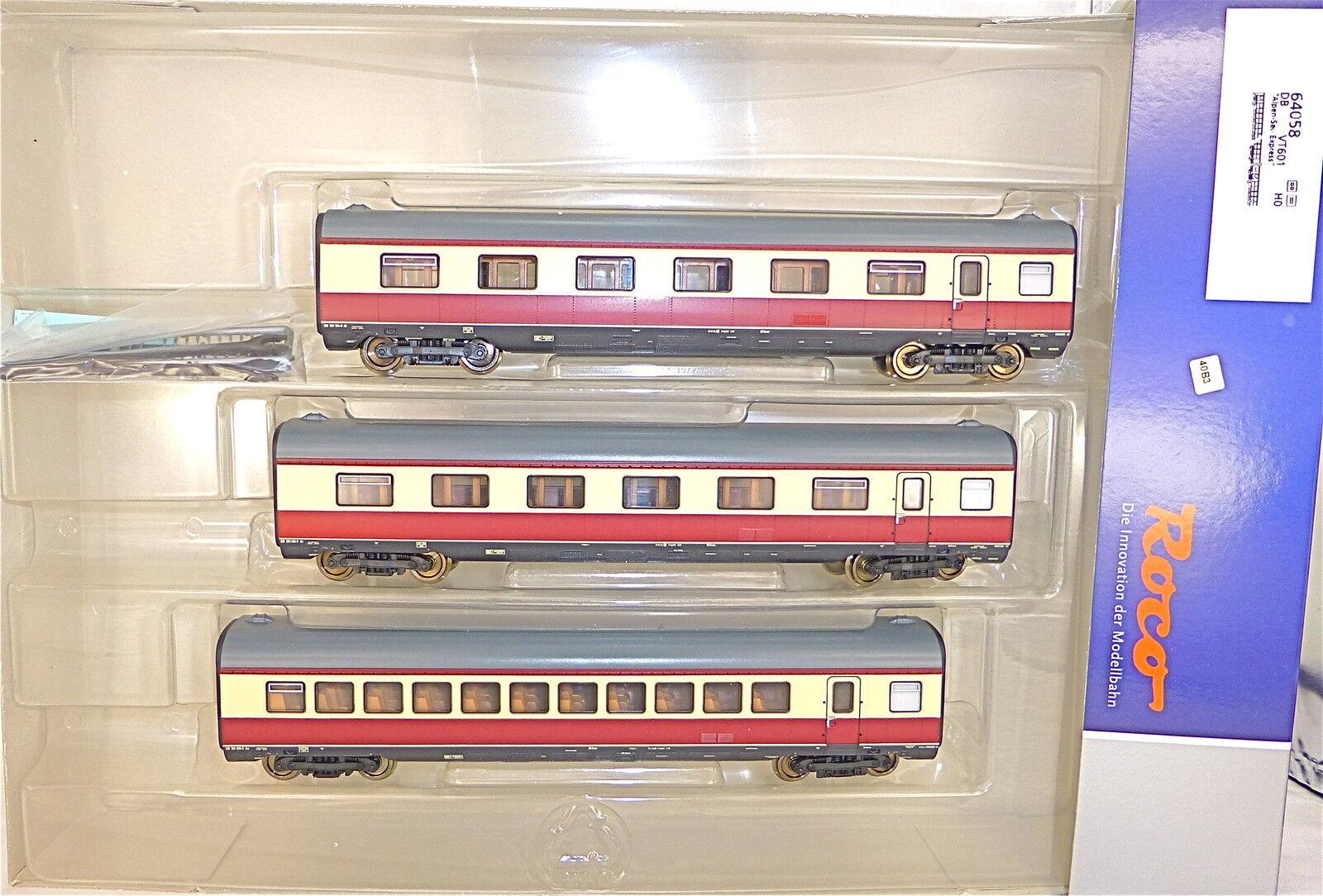 3 Vagone Aggiuntivo Alpi See Express Br 601 VT 11 5 Tee DB Roco 64058 Dcl Μ