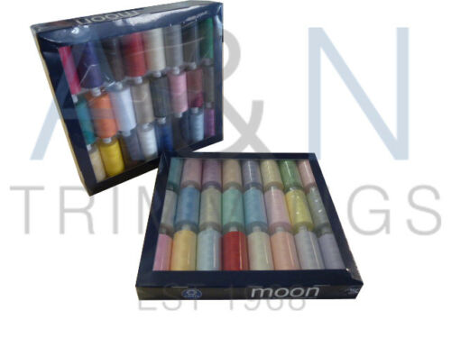 COATS MOON TKT120 48 REELS SPUN POLYESTER SEWING THREAD MIX COLOURS