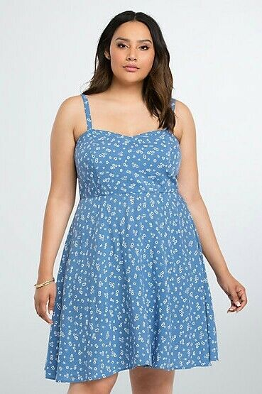 Torrid Womens Sundress Plus Size 3 3X bluee Floral Challis Tank (FFF7)