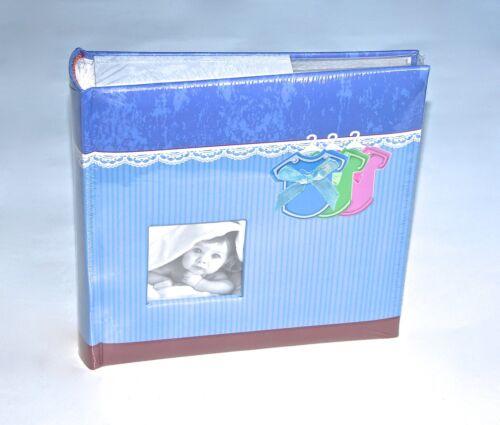 BABYALBUM Fotoalbum mit Fotorahmen 200 Fotos Baby Geschenk Geburt DRESS blau NEU