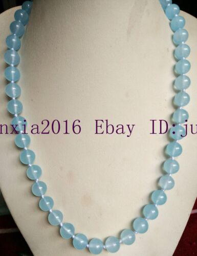 "10 Mm Naturel Bleu Aquamarin Gemstone Round Collier Perles 18/"" AAA"