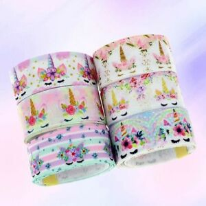 5-Yards-Rainbow-Unicorn-Printed-Grosgrain-Ribbon-Polyester-Hairbow-Unique