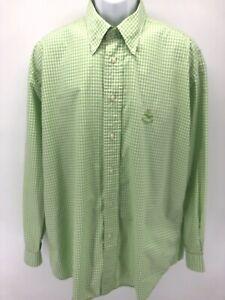 Facconable-Mens-Size-XL-Long-Sleeve-Bright-Green-Checkered-Button-Down-Shirt