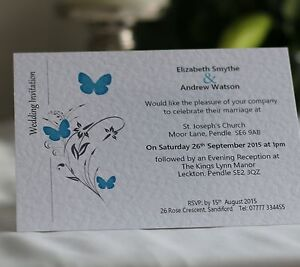 50-x-Personalised-Wedding-Invitations-Day-Evening-with-Envelope-Butterfly