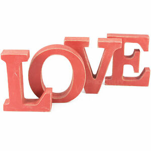 Shabby chic red love letter blocks wooden vintage for Furniture 5 letters word whizzle