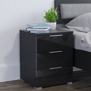 vicco nachtschrank kommode nachttisch schublade schlafzimmer schwarz hochglanz ebay. Black Bedroom Furniture Sets. Home Design Ideas