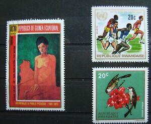 Afrika Ruanda 3 Briefmarken Um Eine Reibungslose üBertragung Zu GewäHrleisten Äquatorialguinea