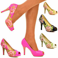 Ladies Floral Patent High Heel Shoes Peep toe pumps Rose pattern PU Size S30365
