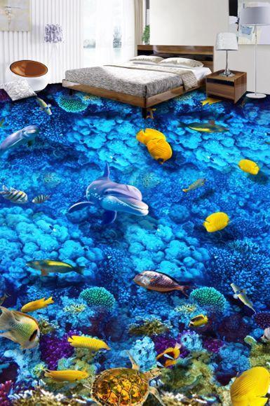 3D fish sea water 8633 Floor WallPaper Murals Wall Print Decal 5D AJ WALLPAPER
