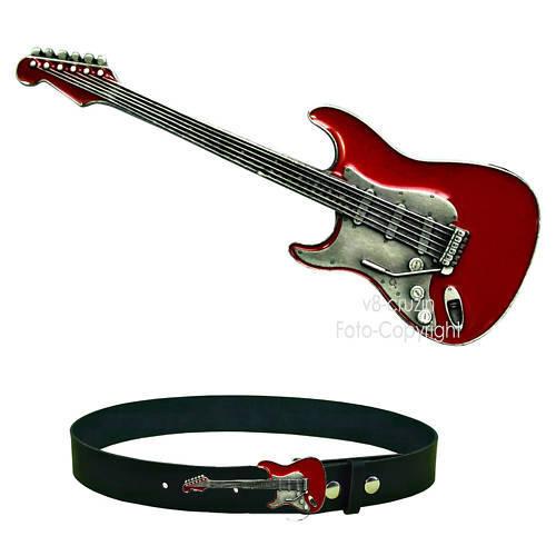 Gitarre Gürtelschnalle Belt Buckle f. Wechselgürtel Rock`n Roll *028 rot