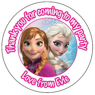 24x Personalised Frozen Elsa & Anna Stickers labels 45mm Party Thank You  -B2