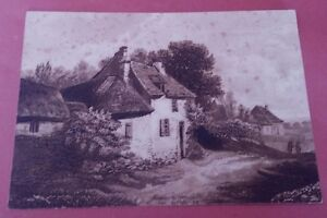 Small-Engraving-Sepia-Landscape-19th-Antique-French-Engraving