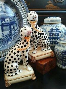 Stunning English Staffordshire Style Dalmatian Fox Hunt Hound Mantle Dog Pair