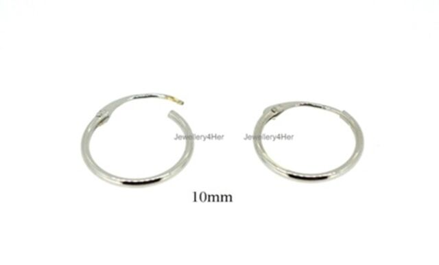 9ct White Gold Tiny Small Plain 10mm Top Half Hinged Hoop Sleeper Earrings Pair