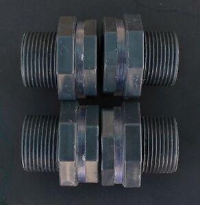 4 Pack Rain Barrel Water Tank Bulkhead Adapter Fitting 3 4