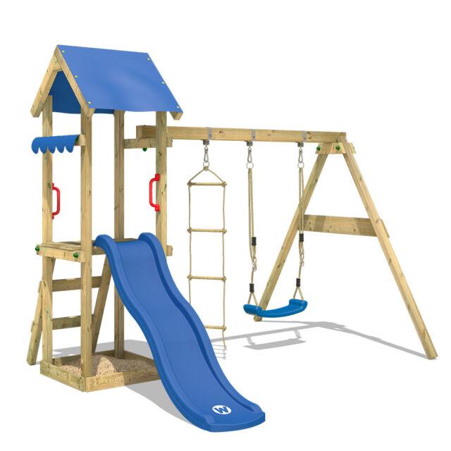 Wickey Spielturm Kletterturm Tinycabin blaue Rutsche Schaukel Garten  Holzkinder.