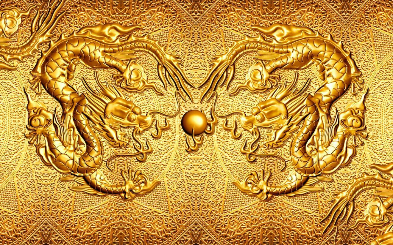 3D golden dragon sculpture wallpaper Decal Dercor Home Kid Nursery Mural  Home