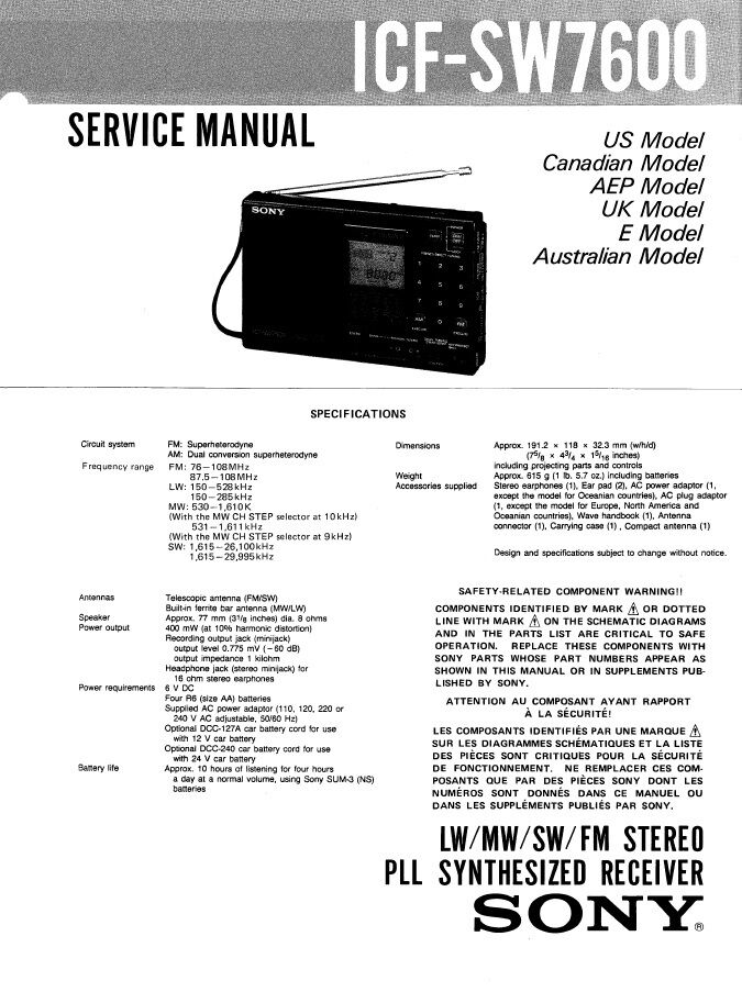 sony icf sw7600 service manual on a cd ebay rh ebay com sony manuals download user manuals sony manuals center