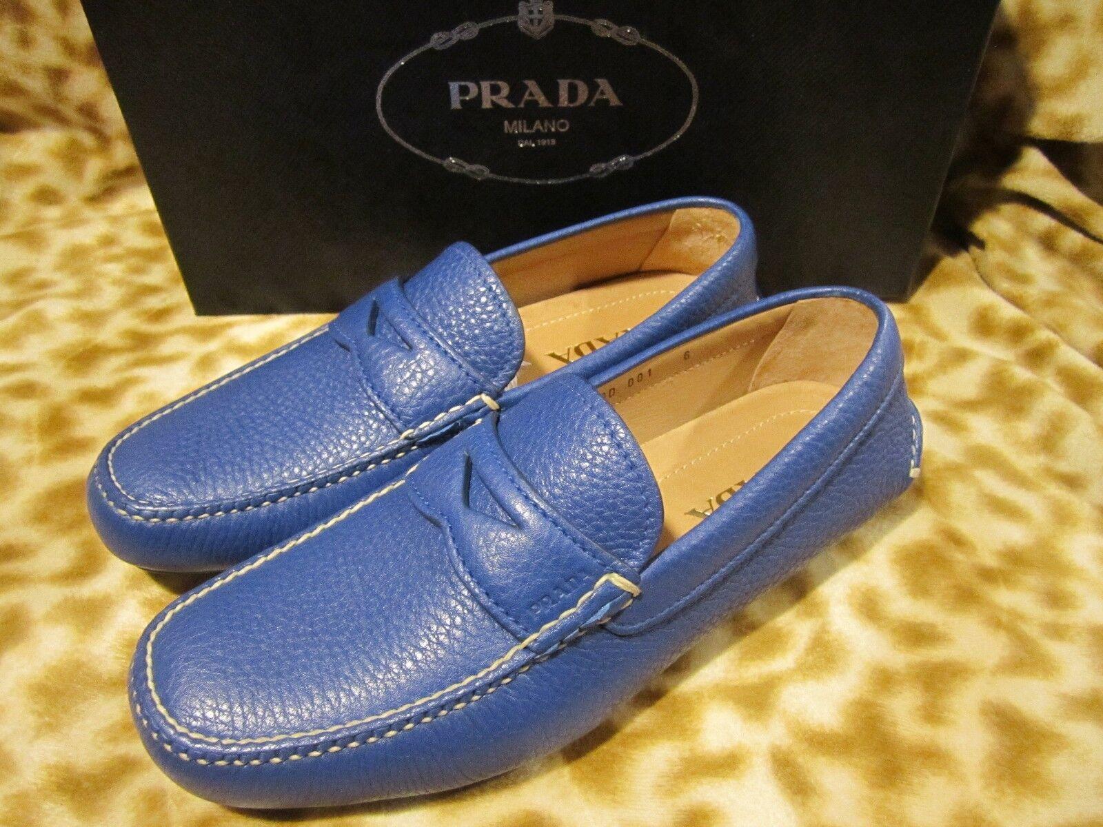 Para hombre de cuero con logotipo en azul PRADA MILANO Mocasín Zapatos de controlador 6 US 7 D Nuevo Nuevo En Caja