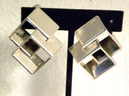 Vintage Runway Geometric Earrings Clip On