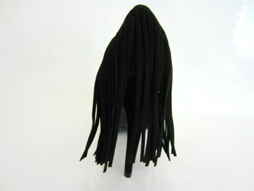 R25B Spot On Ladies Black Court Shoes With Fringe On Heel F9R879