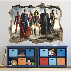 Justice League Smashed 3D Wall Decal Kids Sticker Art Decor Vinyl Mural Poster