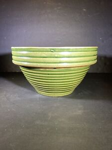 Antique Vintage McCoy Pottery Kitchen Green Glaze Yellow Ware Mixing Bowl 8 Inch
