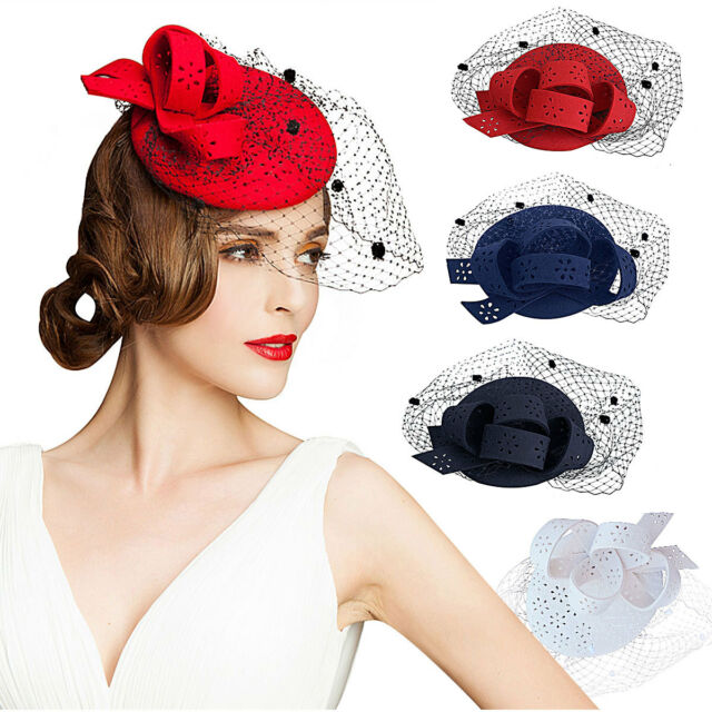 A195 Ladies Hollow Felt Wool Fascinator Cocktail Formal Racing Wedding Hat Ascot