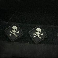 2 PCS MINI Skeleton Pirate FLAG USA US ARMY PVC RUBBER MORALE BADGE PATCH