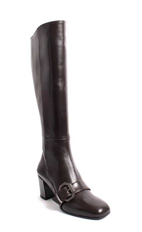 Gibellieri 3386a Dark Brown Leather Metal Buckle Knee High Boot 40.5 / US 10.5