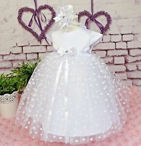Princessin Taufkleid Set 3 Pièces Bandeau Chaussures 56 - 98 Top Qualité-afficher Le Titre D'origine