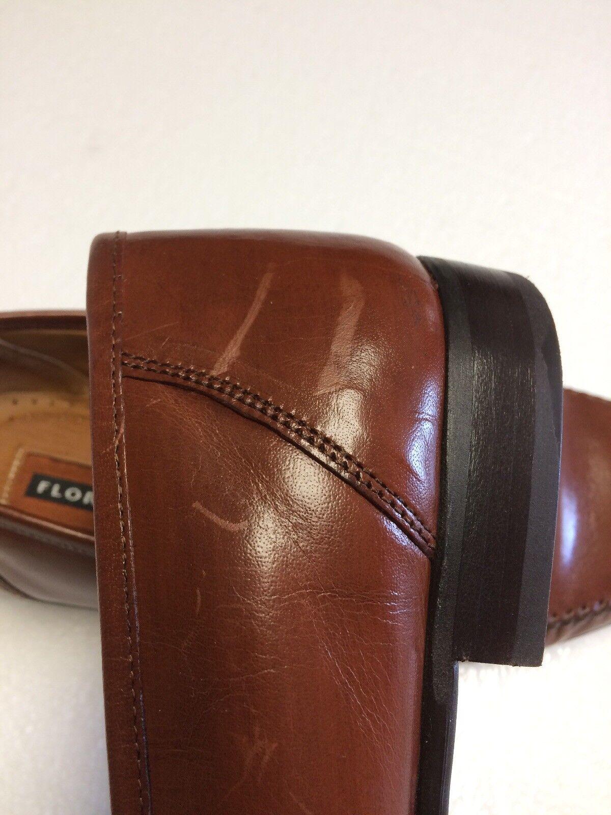 Florsheim On Men's  Cognac Braun Leder Dress Schuhes Slip On Florsheim Bit Loafers Größe 9.5D 7385a2
