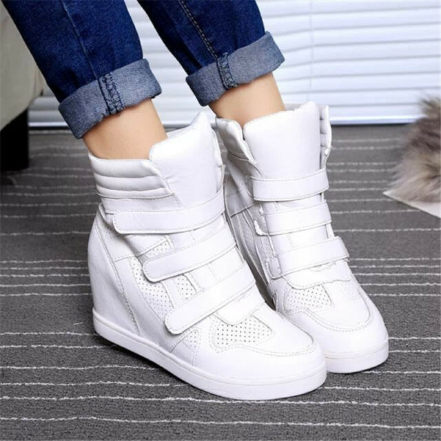 01254d35c41 Fashion Womens High Top Hidden Wedge SNEAKERS Lace up Casual Shoes ...