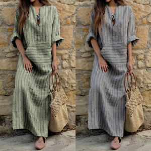 Plus-ZANZEA-Retro-Women-Stripe-V-Neck-Long-Sleeve-Loose-Kaftan-Maxi-Long-Dress