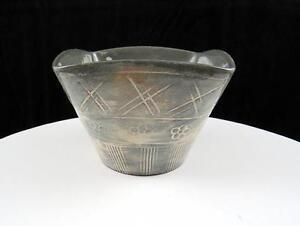 Japones-Sgraffito-Art-Ceramica-Incised-Floral-Vertical-Lines-7cm-Cuadrado-Cuenco