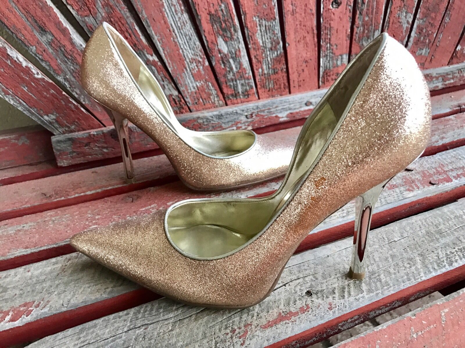 SofT Toe GoLD spARkLe Sz 9.5 Champagne CARRIE Pointy Toe SofT Stiletto Heels PUMP GuESS d765c1