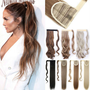 100-Natural-Clip-In-Ponytail-Hair-Extensions-Straight-Wavy-Wrap-Pony-Tail-Fnk
