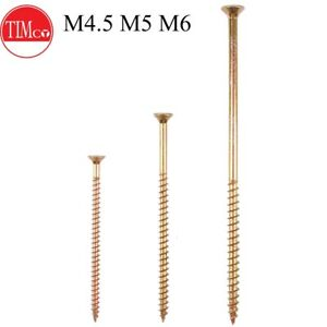 M4 M4.5 M5 COUNTERSUNK WOOD SCREWS POZI YELLOW PASSIVATE MULTI PURPOSE SCREWS