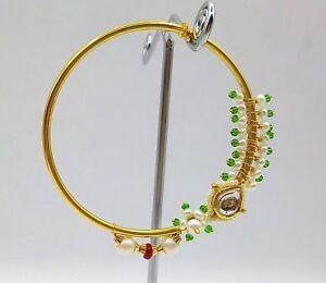 Indian Handmade 20 K Yellow Gold Bridal Nath Nose Ring Jodha Nose