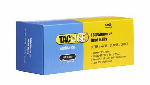 0401 10000 Tacwise 18 Guage 50 mm Brad Nails galvanisé pour ongle fusils 18 g