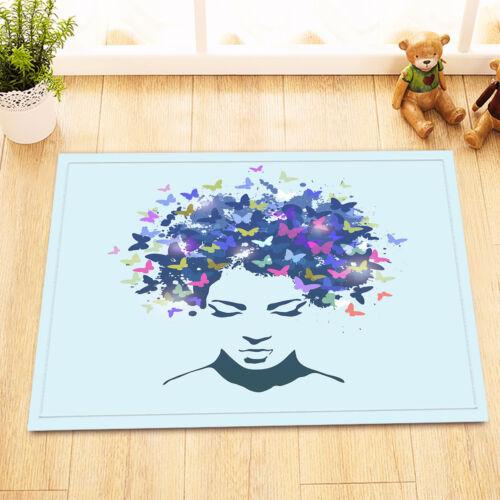 "Africa Women Butterfly Bathroom Waterproof Fabric Shower Curtain Hooks Set 72/"""