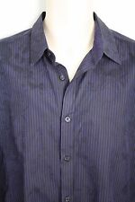 Ted Baker Purple Black Floral Striped Button Down Shirt French Cuffs 4 40 L