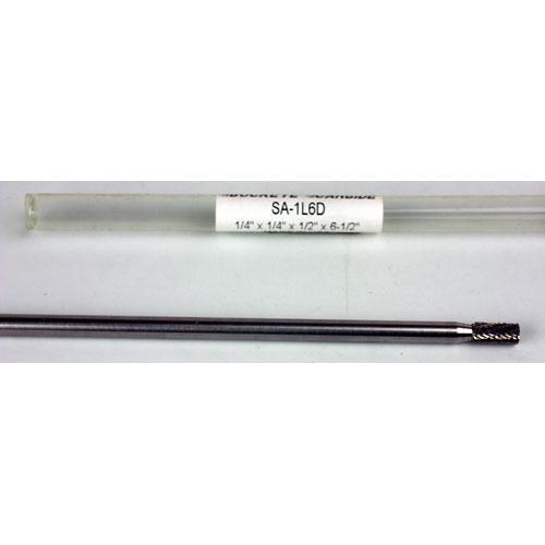 1//4 x 1//4 x 1//2 x 6 1//2 SA-1L6D Cylindrical Carbide Burr Double Cut