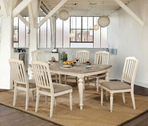 Tremendous Details About Rustic Style 7Pc Antique White Gray Dining Room Set Wooden Furniture Table Chair Beatyapartments Chair Design Images Beatyapartmentscom
